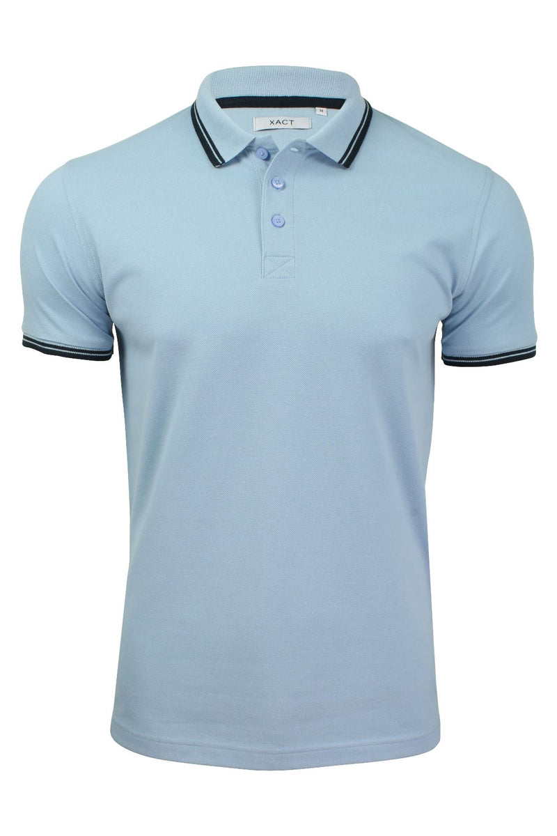 Xact Mens Beach Polo Short Sleeved  With Tipped collar, 01, Xp1024, #colour_Pale Blue