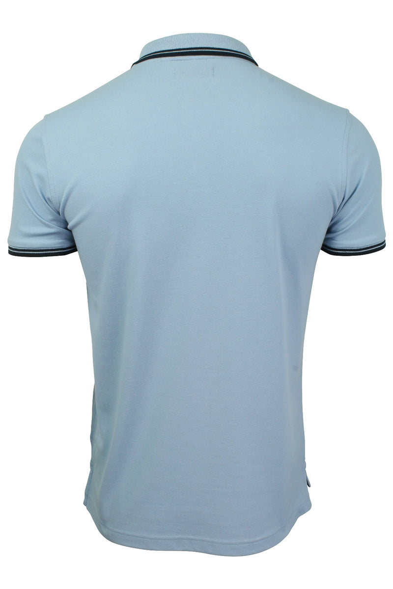 Xact Mens Beach Polo Short Sleeved  With Tipped collar, 03, Xp1024, #colour_Pale Blue