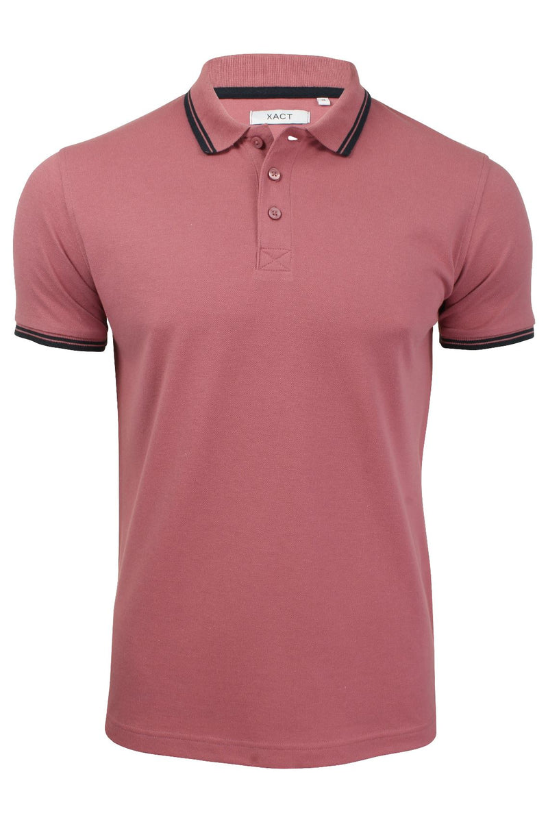 Xact Mens Beach Polo Short Sleeved  With Tipped collar, 01, Xp1024, #colour_Washed Rose