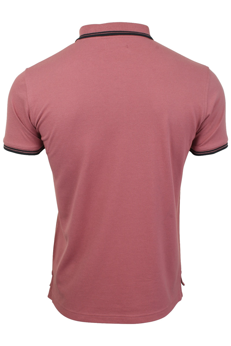 Xact Mens Beach Polo Short Sleeved  With Tipped collar, 03, Xp1024, #colour_Washed Rose