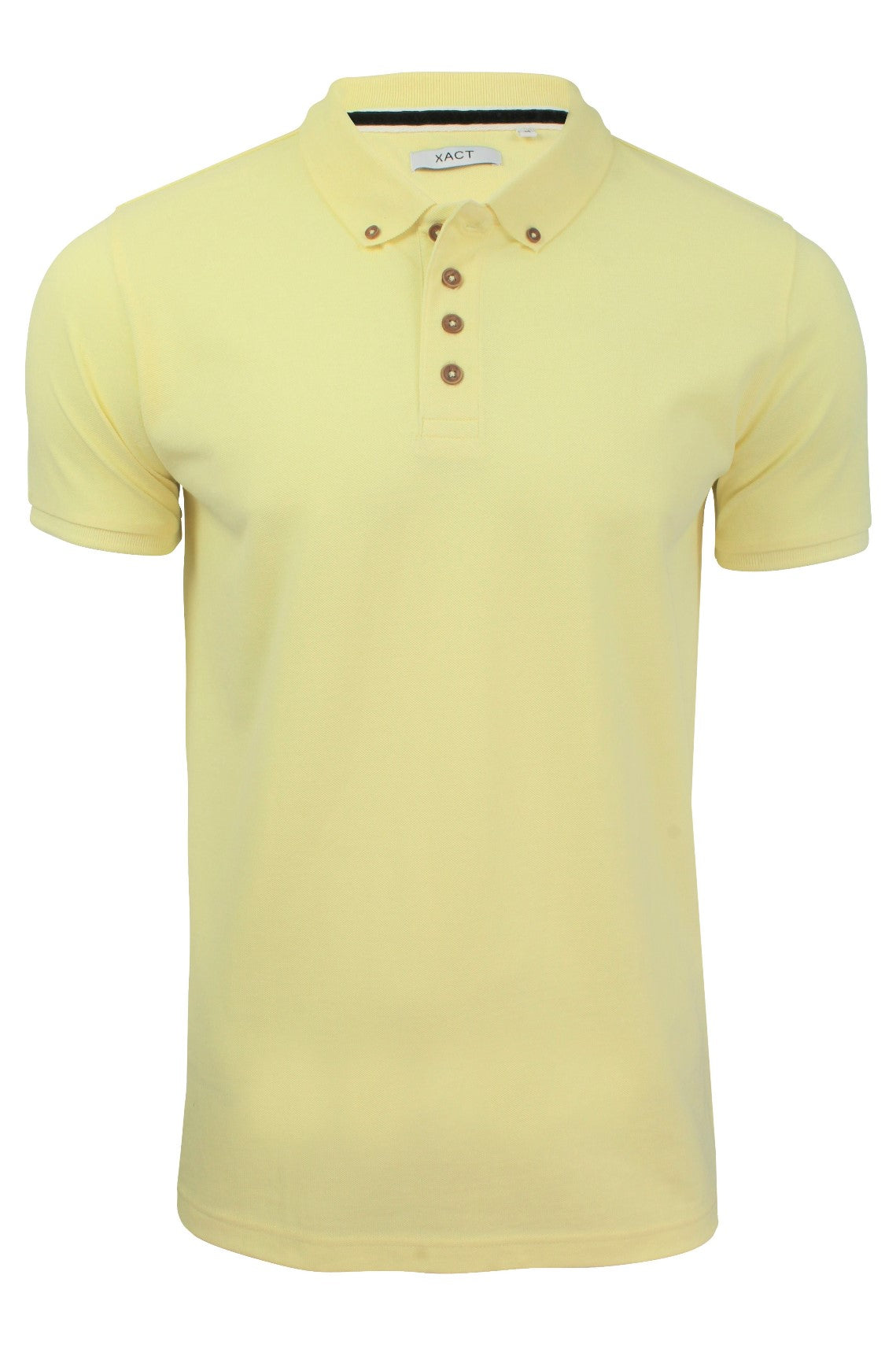 Xact Mens Pique Polo link Short Sleeved Golf Casual_01_Xp1025_Yellow