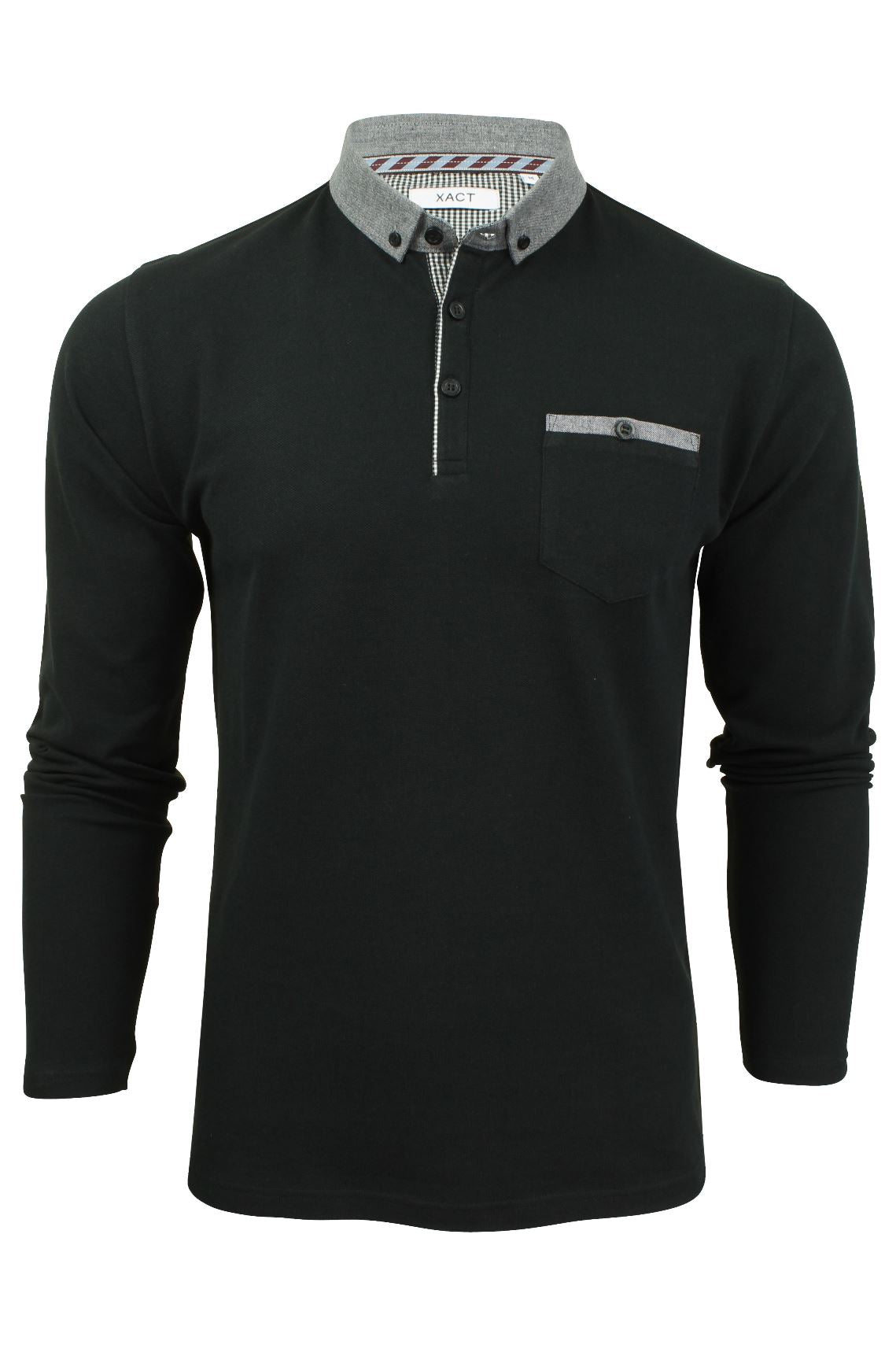 Mens Long Sleeved Button Down Collar Polo T-Shirt by Xact_01_Xp1026_Black
