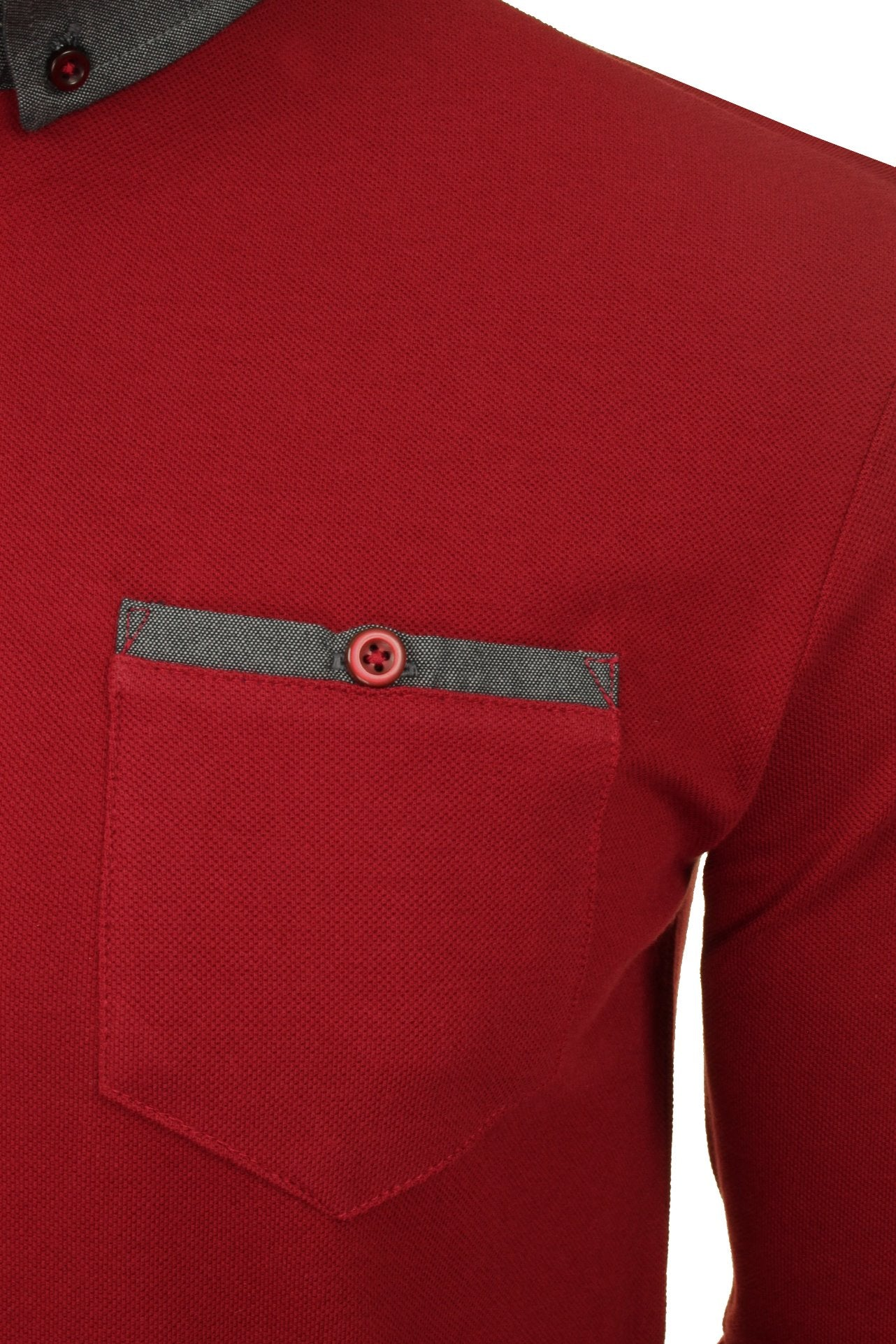 Mens Long Sleeved Button Down Collar Polo T-Shirt by Xact_02_Xp1026_Burgundy