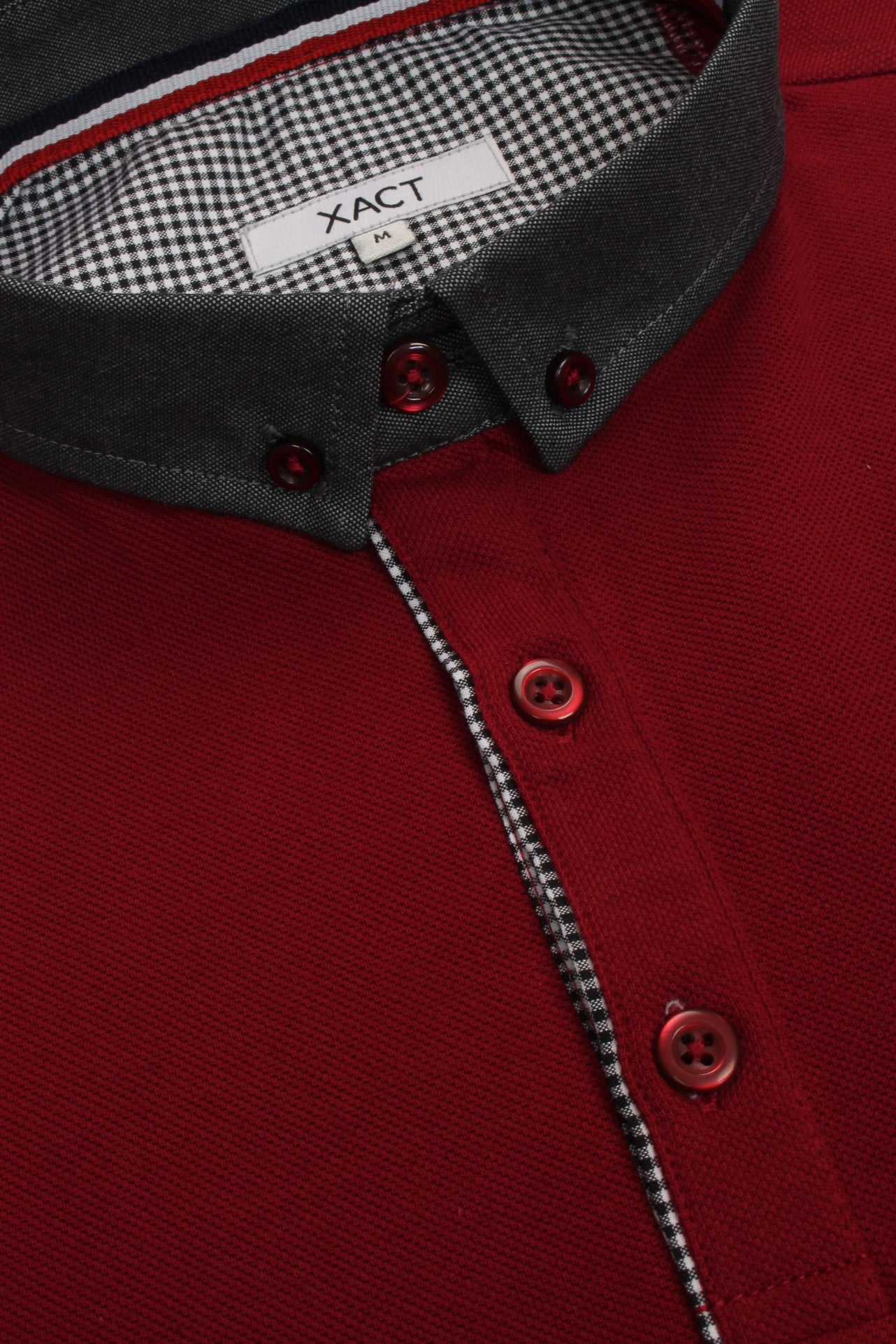Mens Long Sleeved Button Down Collar Polo T-Shirt by Xact_04_Xp1026_Burgundy