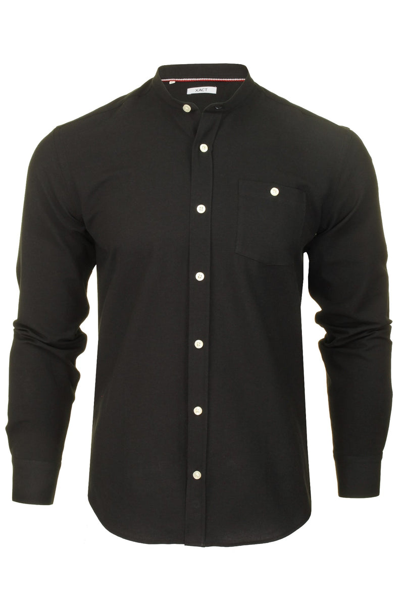 Xact Mens Grandad Collar Nehru Oxford Shirt 'Gustus' Long Sleeved, 01, Xsh1023, #colour_Black