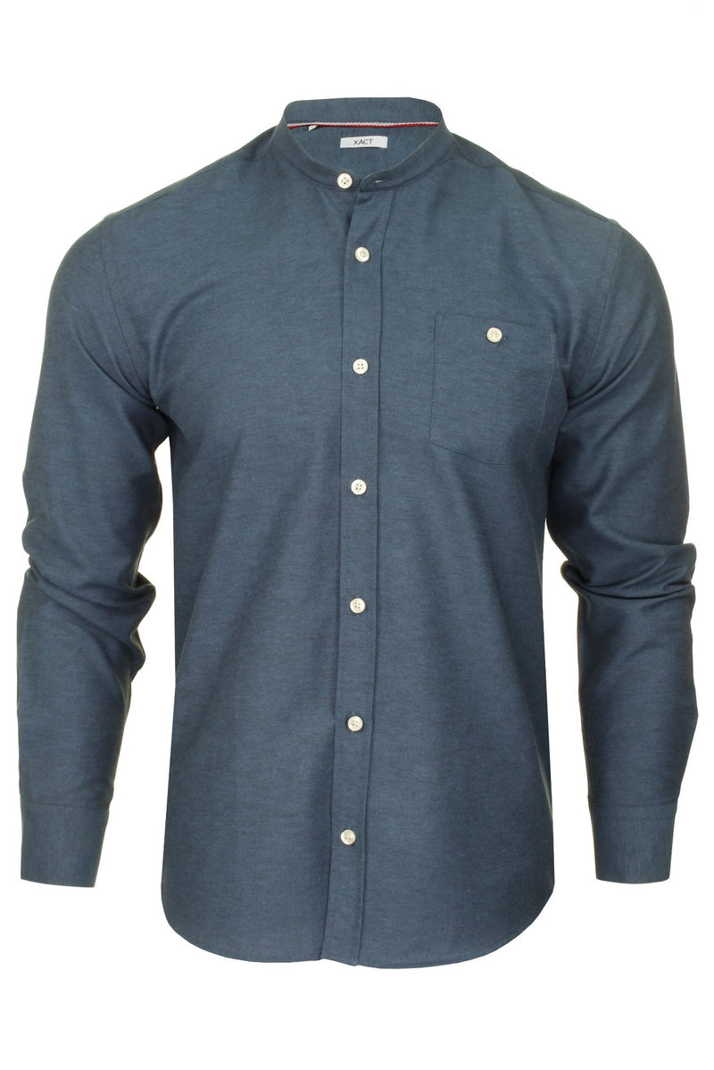 Xact Mens Grandad Collar Nehru Oxford Shirt 'Gustus' Long Sleeved, 01, Xsh1023, #colour_Denim Blue