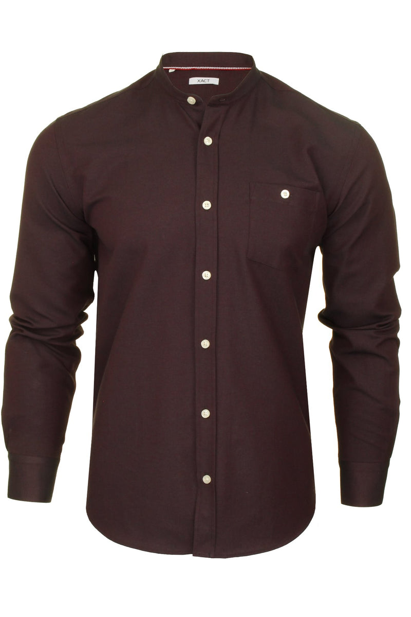 Xact Mens Grandad Collar Nehru Oxford Shirt 'Gustus' Long Sleeved, 01, Xsh1023, #colour_Dark Burgundy