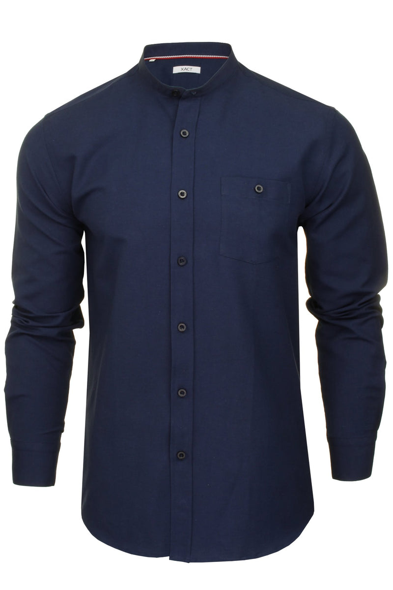Xact Mens Grandad Collar Nehru Oxford Shirt 'Gustus' Long Sleeved, 01, Xsh1023, #colour_Dark Navy