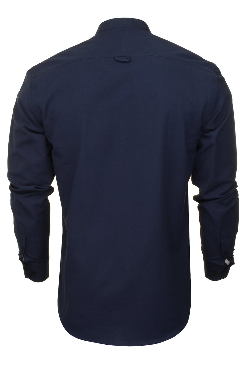 Xact Mens Grandad Collar Nehru Oxford Shirt 'Gustus' Long Sleeved, 03, Xsh1023, #colour_Dark Navy