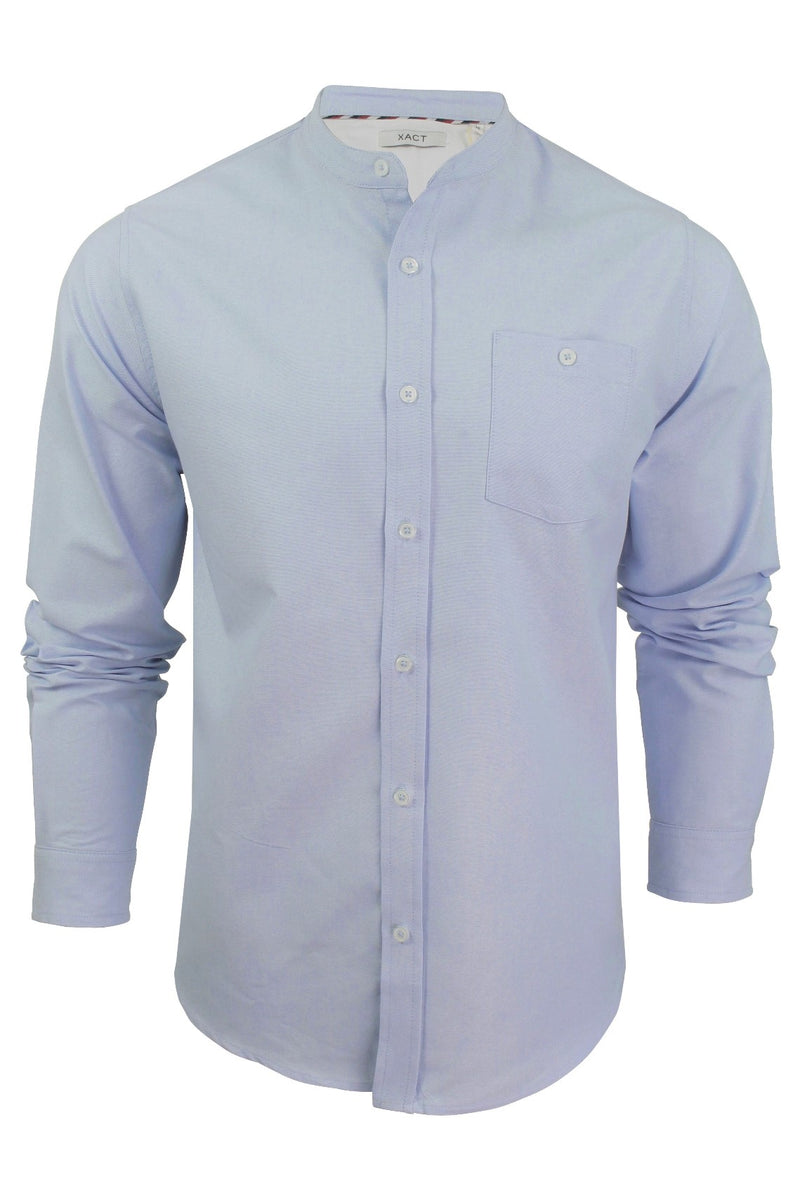 Xact Mens Grandad Collar Nehru Oxford Shirt 'Gustus' Long Sleeved, 01, Xsh1023, #colour_Light Blue