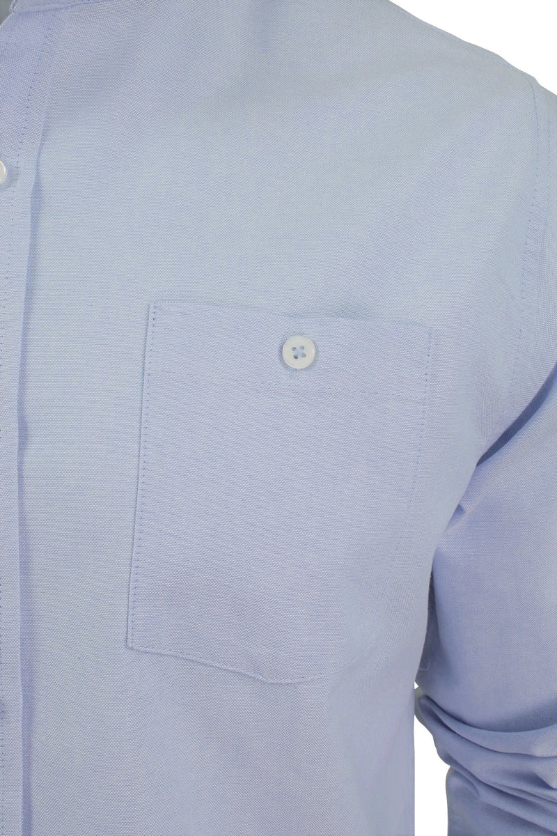 Xact Mens Grandad Collar Nehru Oxford Shirt 'Gustus' Long Sleeved, 02, Xsh1023, #colour_Light Blue