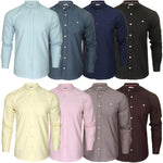 Xact Mens Grandad Collar Nehru Oxford Shirt 'Gustus' Long Sleeved, 01, Xsh1023