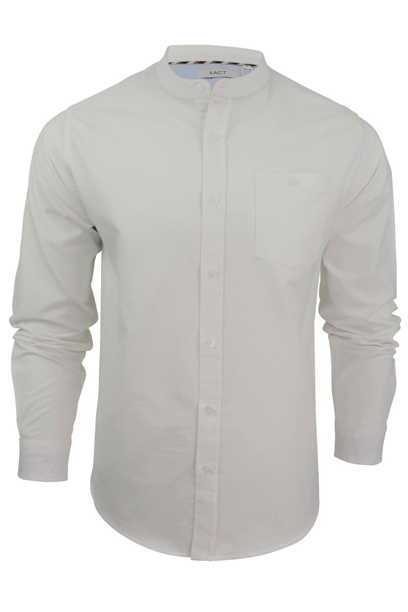 Xact Mens Grandad Collar Nehru Oxford Shirt 'Gustus' Long Sleeved, 01, Xsh1023, #colour_White
