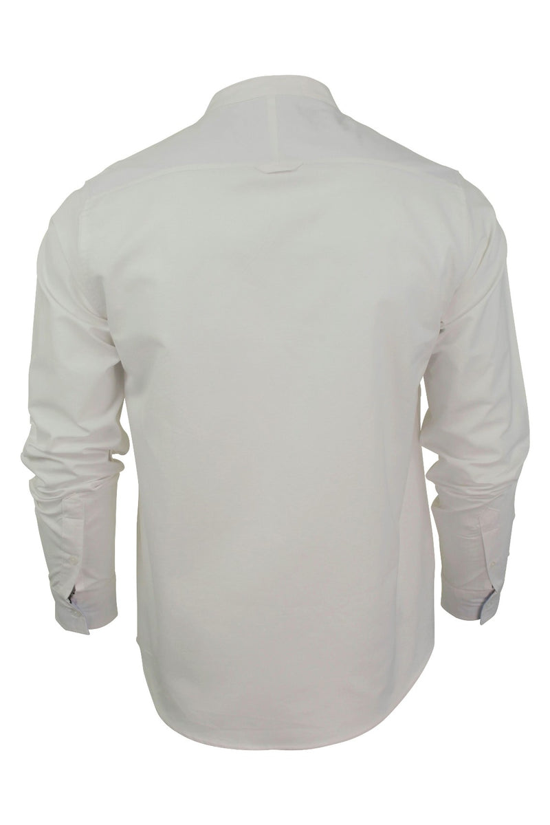 Xact Mens Grandad Collar Nehru Oxford Shirt 'Gustus' Long Sleeved, 03, Xsh1023, #colour_White
