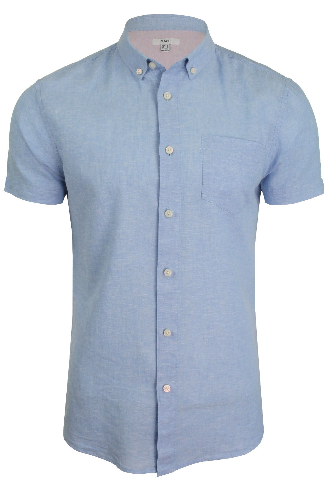 Xact Short Sleeved Linen Mix Shirt-Main Image
