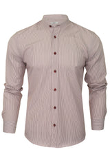 Xact Mens Stripe Grandad Shirt - Long Sleeved-Main Image