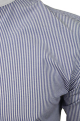 Xact Mens White Collar Striped Grandad Shirt - Long Sleeved-2