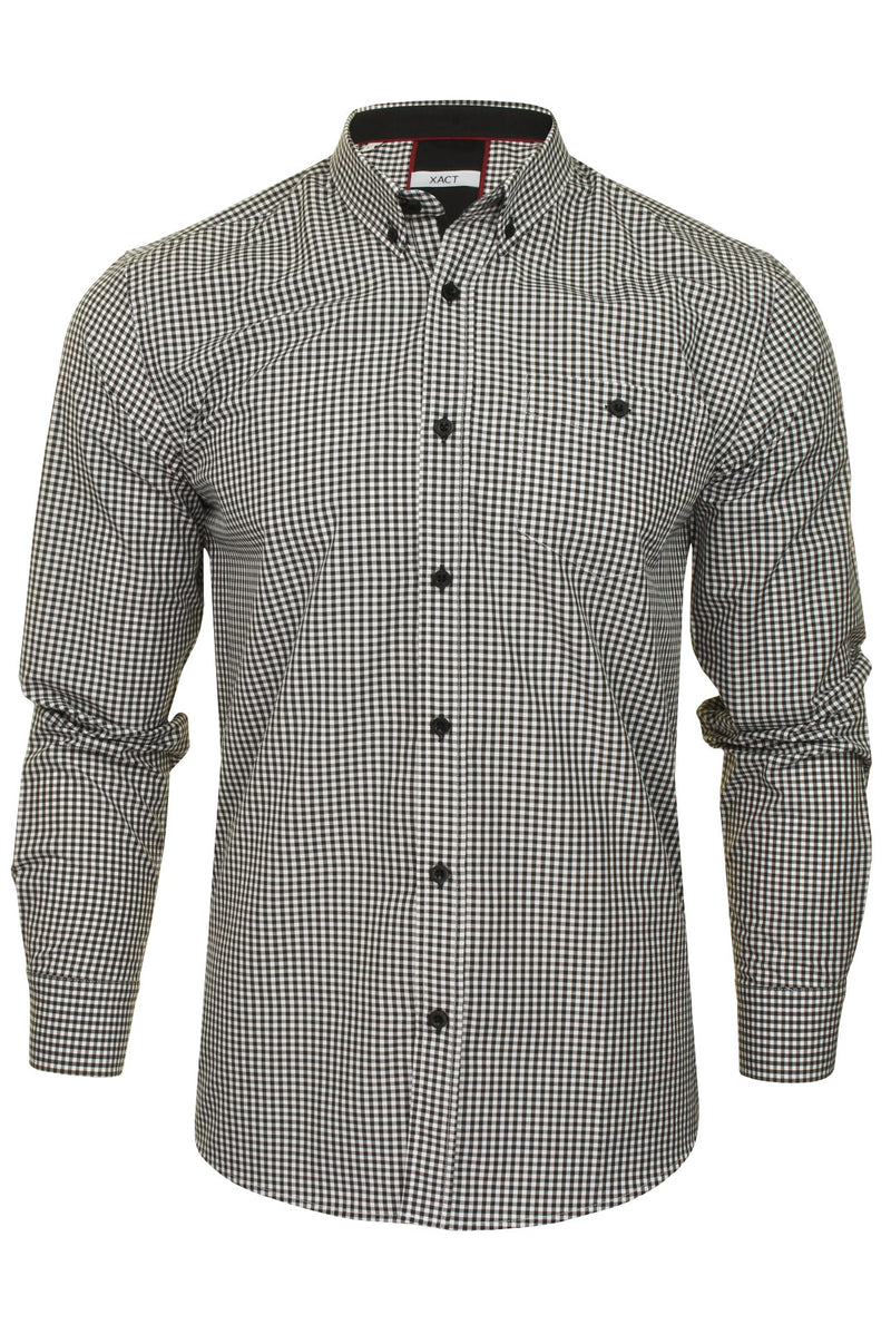 Xact Men's Gingham Check Shirt with Button-Down Collar - Long Sleeved, 01, Xsh1106, #colour_Black/ White