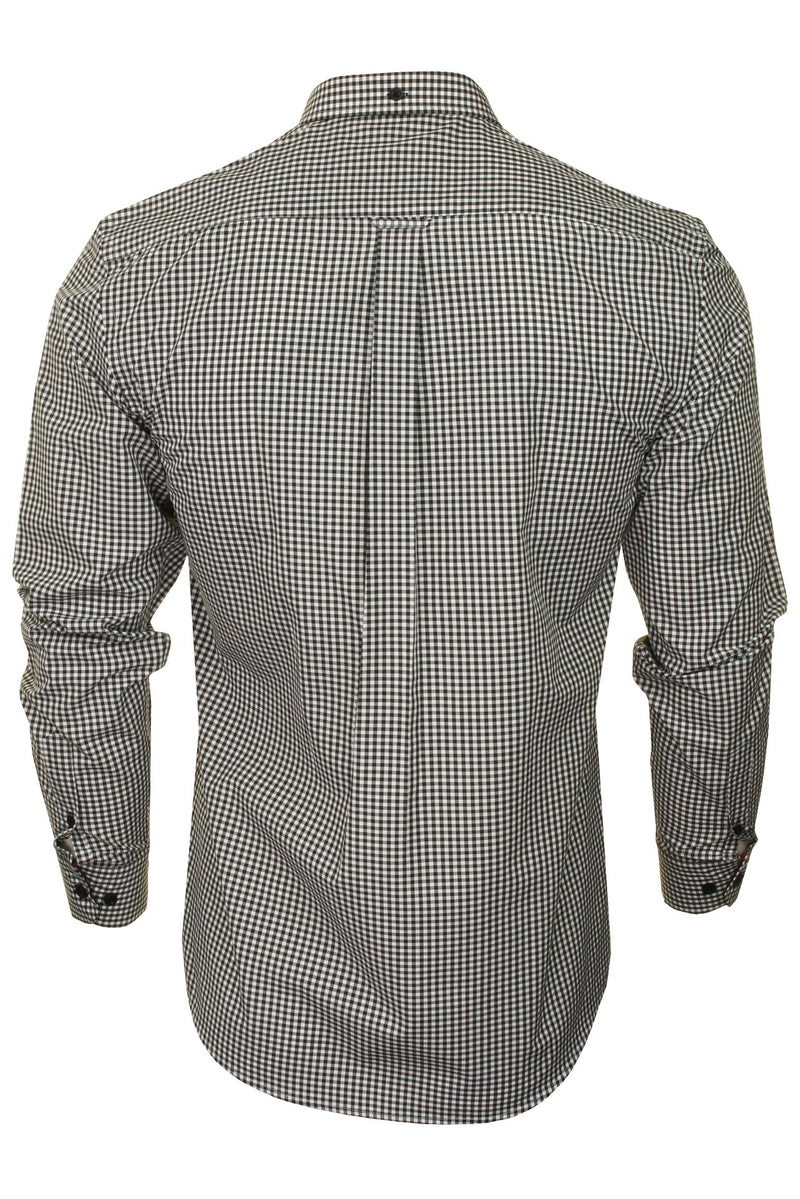 Xact Men's Gingham Check Shirt with Button-Down Collar - Long Sleeved, 03, Xsh1106, #colour_Black/ White