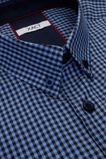 Xact Men's Gingham Check Shirt with Button-Down Collar - Long Sleeved, 04, Xsh1106, #colour_Denim Blue/ Navy