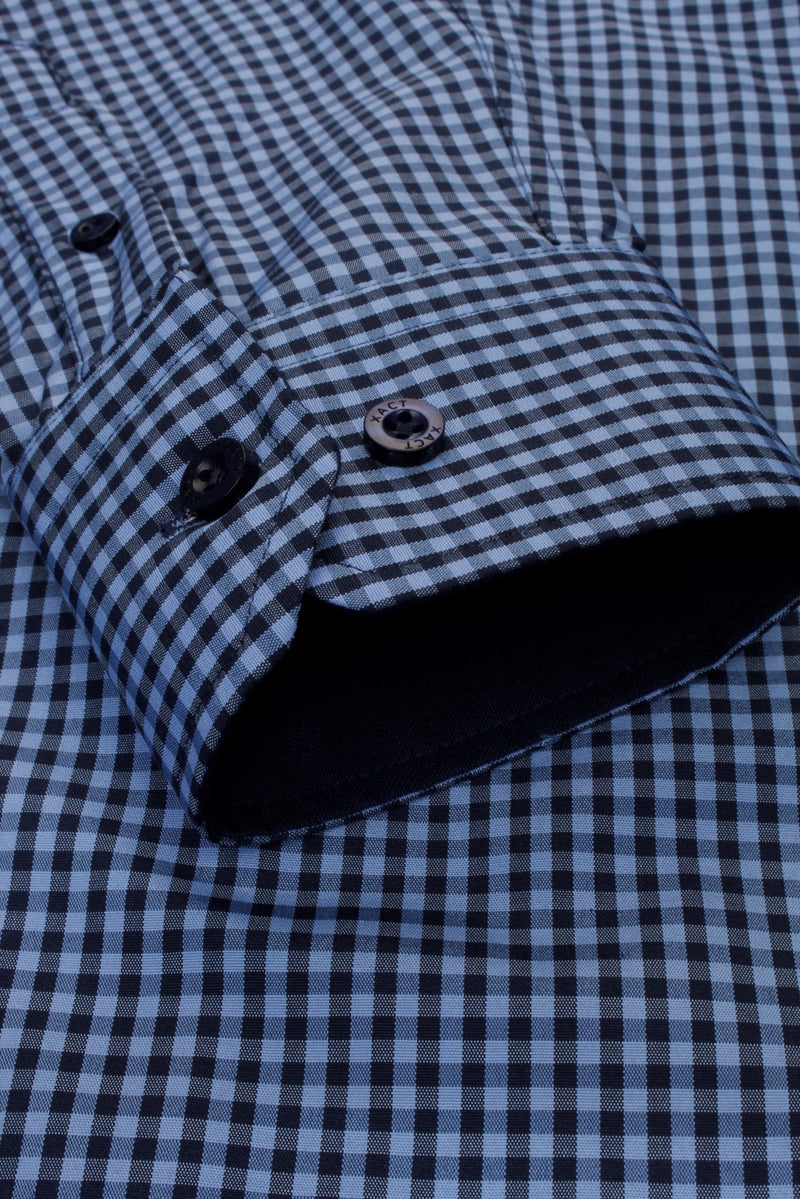 Xact Men's Gingham Check Shirt with Button-Down Collar - Long Sleeved, 05, Xsh1106, #colour_Denim Blue/ Navy