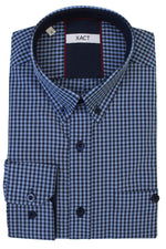 Xact Men's Gingham Check Shirt with Button-Down Collar - Long Sleeved, 06, Xsh1106, #colour_Denim Blue/ Navy