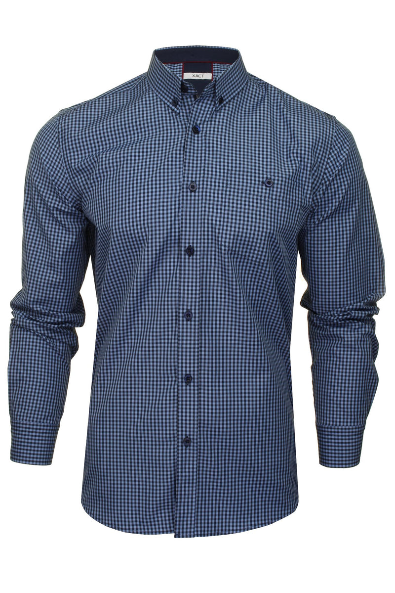 Xact Men's Gingham Check Shirt with Button-Down Collar - Long Sleeved, 01, Xsh1106, #colour_Denim Blue/ Navy