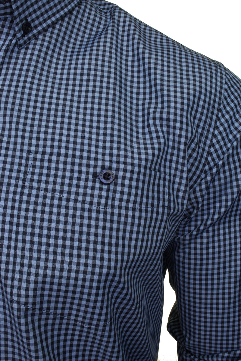 Xact Men's Gingham Check Shirt with Button-Down Collar - Long Sleeved, 02, Xsh1106, #colour_Denim Blue/ Navy