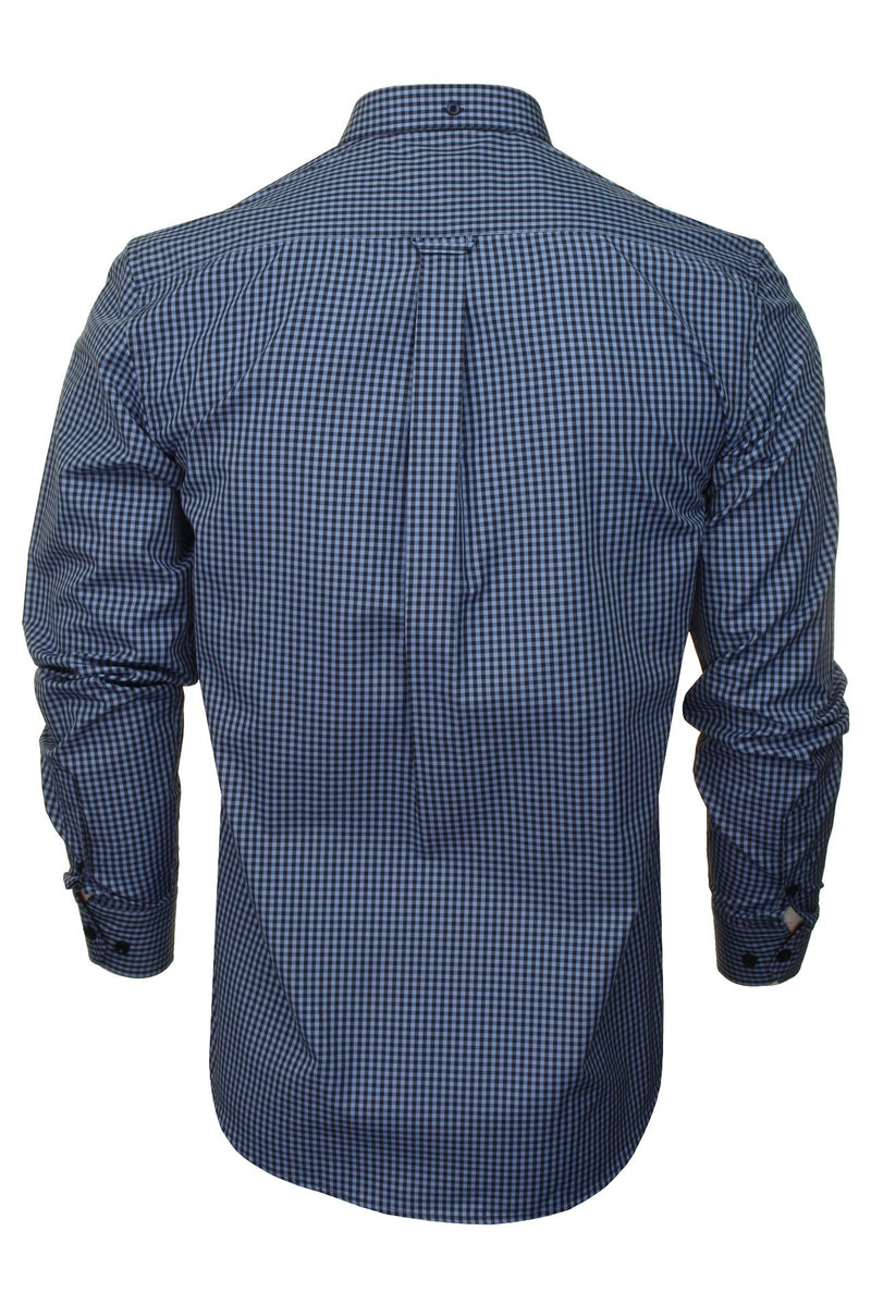 Xact Men's Gingham Check Shirt with Button-Down Collar - Long Sleeved, 03, Xsh1106, #colour_Denim Blue/ Navy