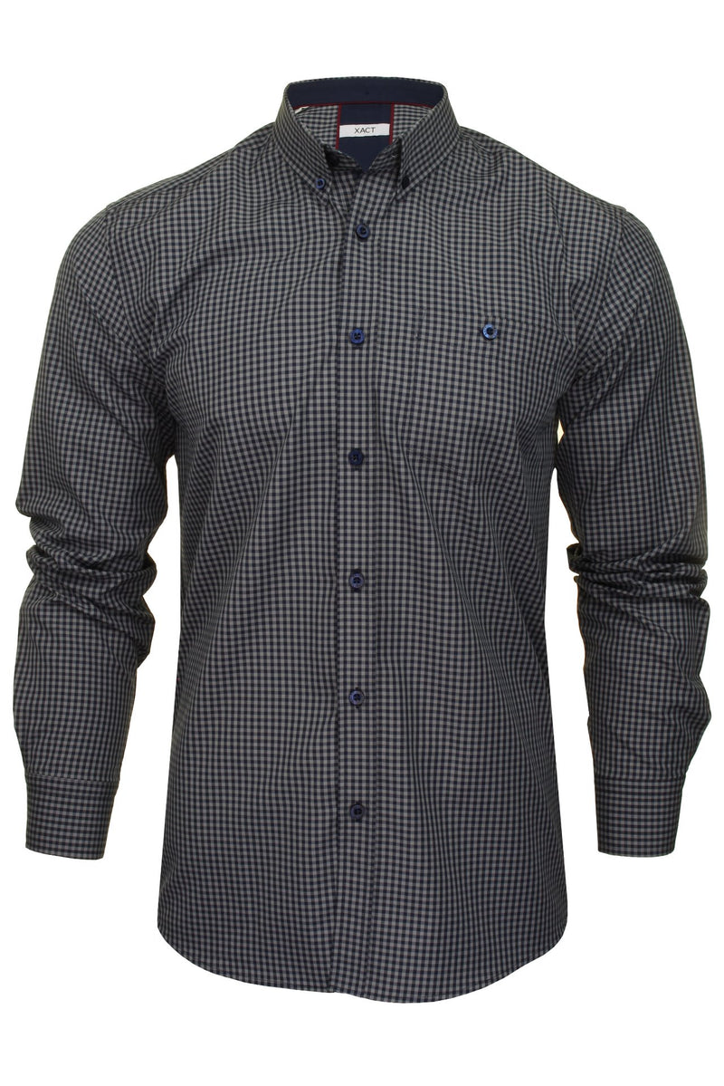 Xact Men's Gingham Check Shirt with Button-Down Collar - Long Sleeved, 02, Xsh1106, #colour_Parent