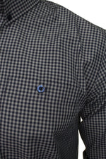 Xact Men's Gingham Check Shirt with Button-Down Collar - Long Sleeved, 02, Xsh1106, #colour_Grey/ Navy