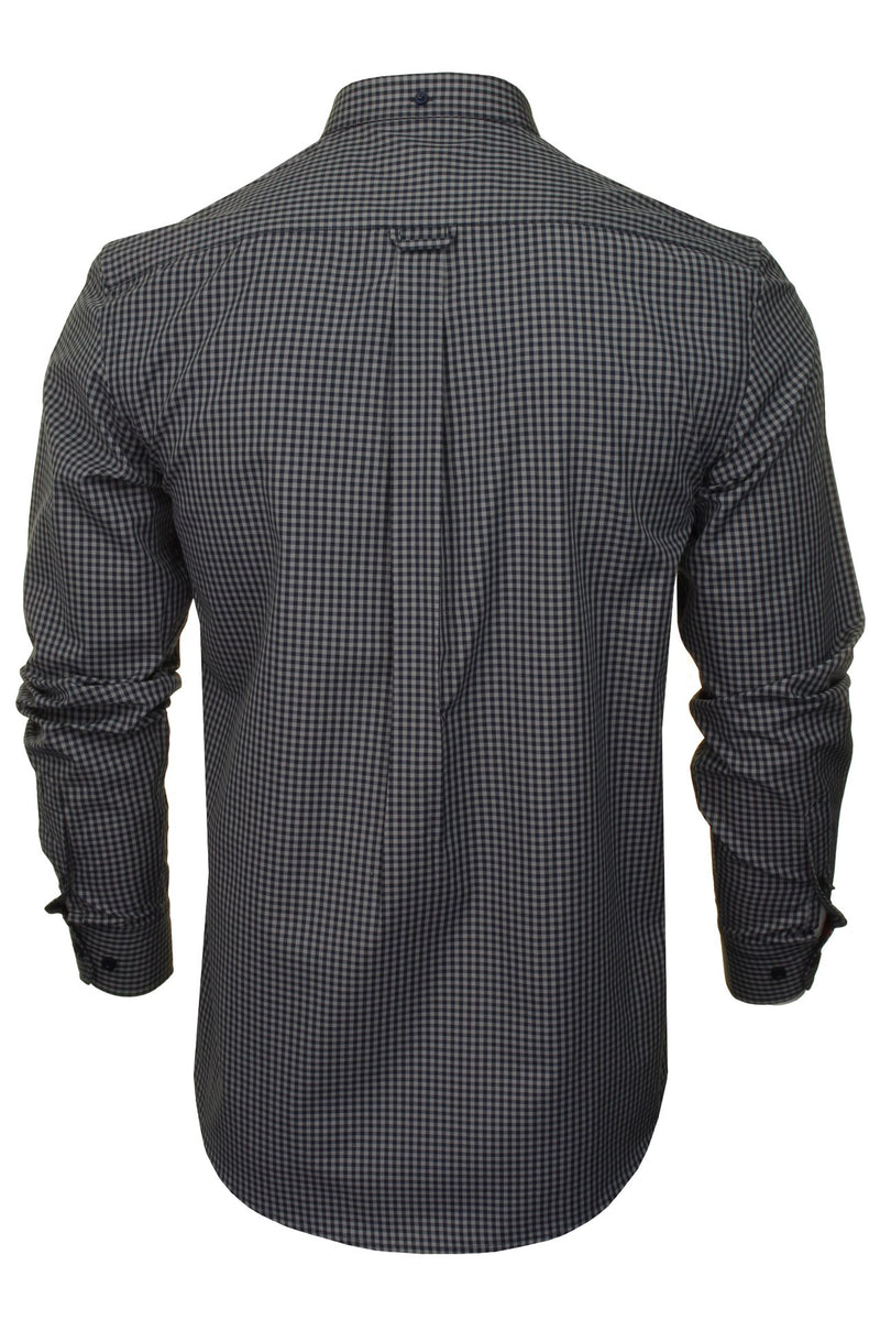 Xact Men's Gingham Check Shirt with Button-Down Collar - Long Sleeved, 03, Xsh1106, #colour_Grey/ Navy