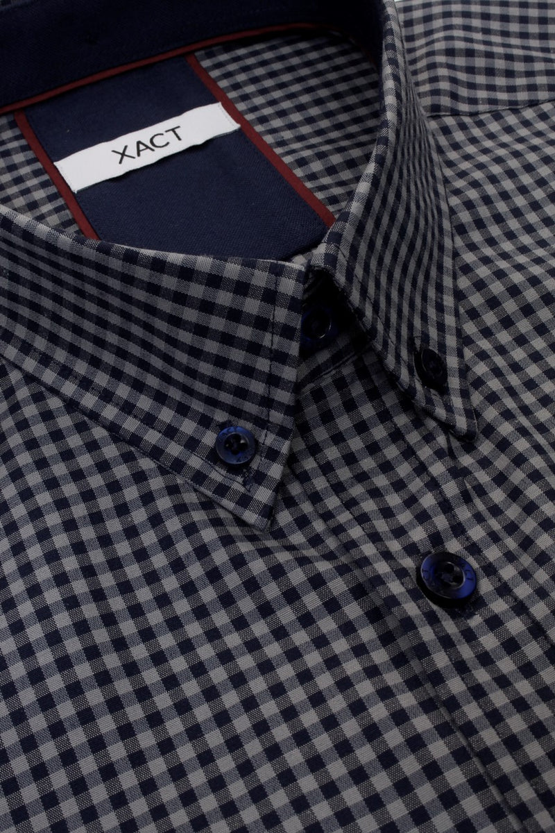 Xact Men's Gingham Check Shirt with Button-Down Collar - Long Sleeved, 04, Xsh1106, #colour_Grey/ Navy