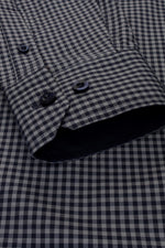 Xact Men's Gingham Check Shirt with Button-Down Collar - Long Sleeved, 05, Xsh1106, #colour_Grey/ Navy