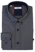 Xact Men's Gingham Check Shirt with Button-Down Collar - Long Sleeved, 06, Xsh1106, #colour_Grey/ Navy