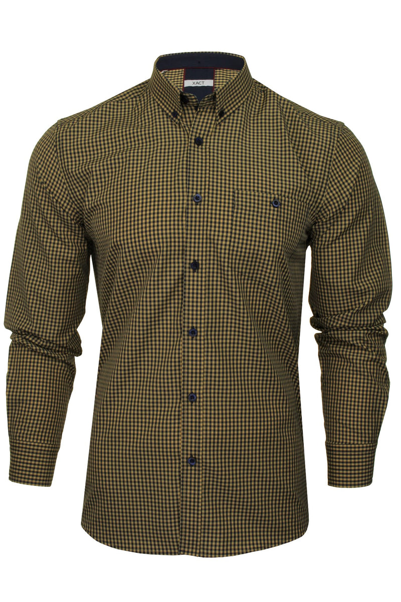 Xact Men's Gingham Check Shirt with Button-Down Collar - Long Sleeved, 01, Xsh1106, #colour_Mustard/ Navy