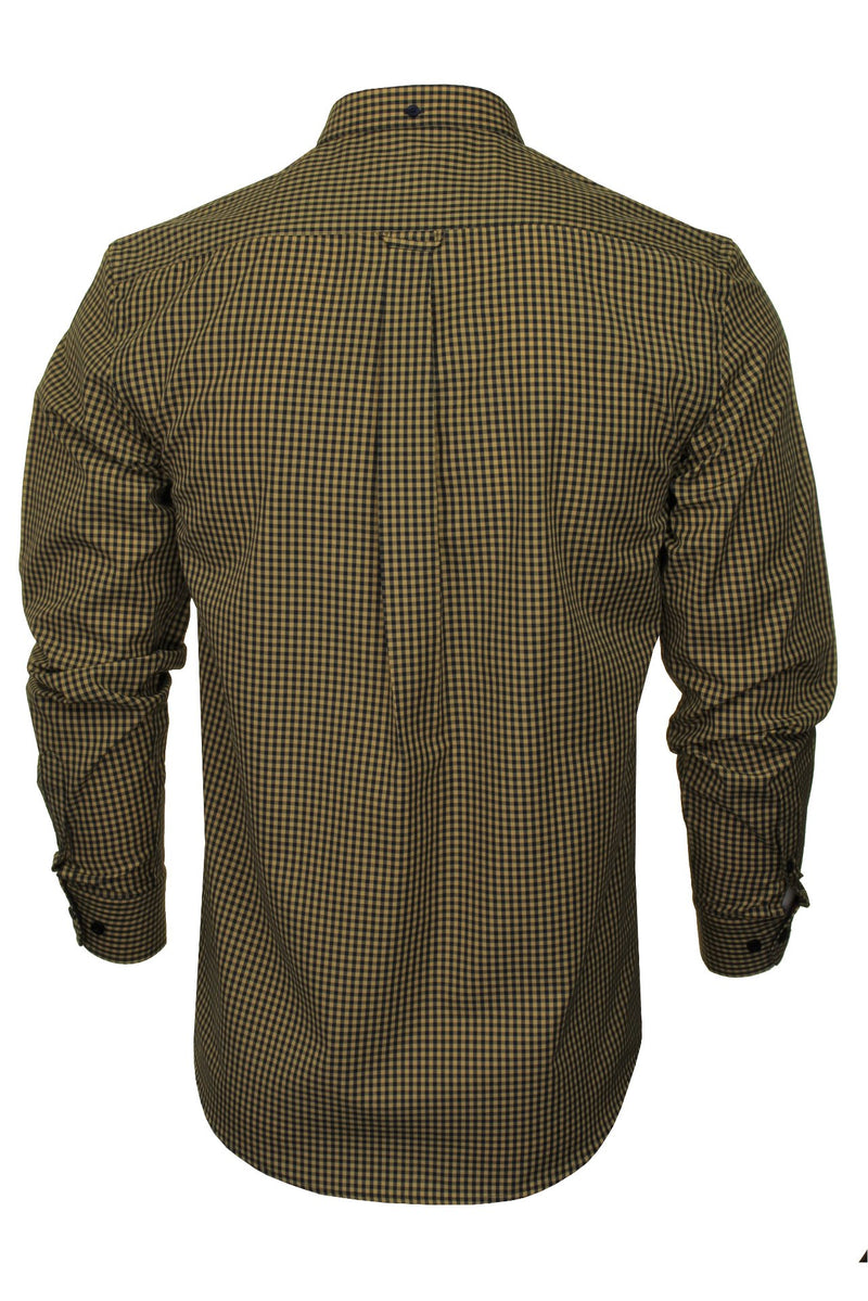 Xact Men's Gingham Check Shirt with Button-Down Collar - Long Sleeved, 03, Xsh1106, #colour_Mustard/ Navy