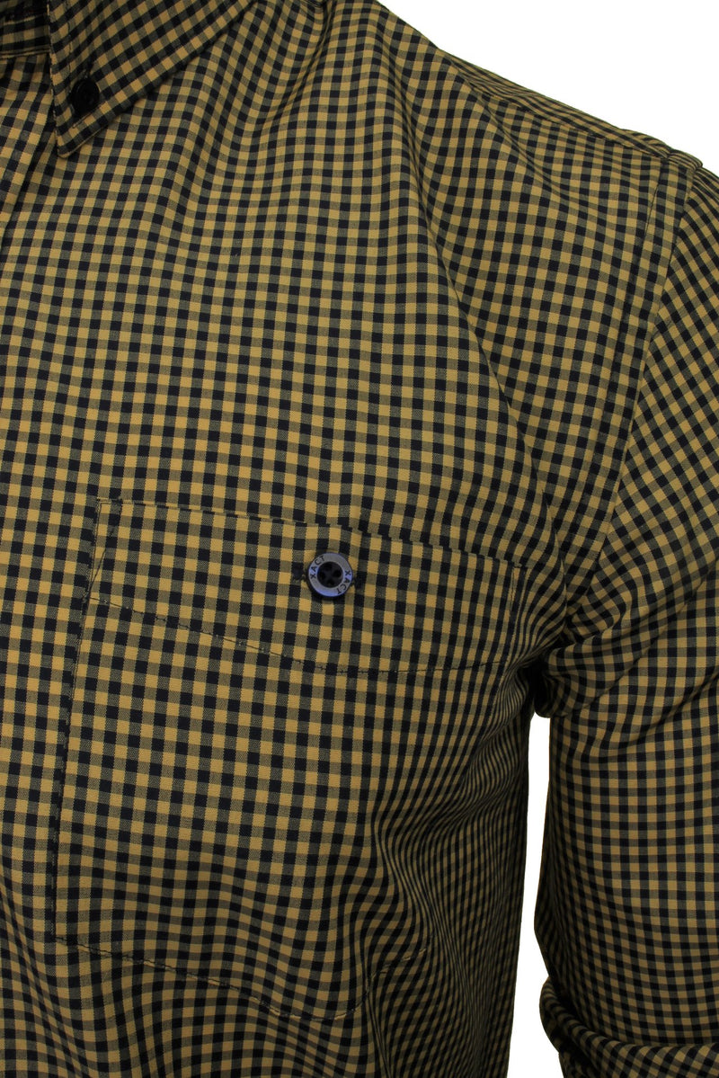 Xact Men's Gingham Check Shirt with Button-Down Collar - Long Sleeved, 02, Xsh1106, #colour_Mustard/ Navy