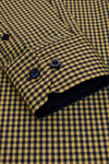 Xact Men's Gingham Check Shirt with Button-Down Collar - Long Sleeved, 04, Xsh1106, #colour_Mustard/ Navy