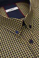 Xact Men's Gingham Check Shirt with Button-Down Collar - Long Sleeved, 05, Xsh1106, #colour_Mustard/ Navy
