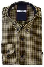 Xact Men's Gingham Check Shirt with Button-Down Collar - Long Sleeved, 06, Xsh1106, #colour_Mustard/ Navy