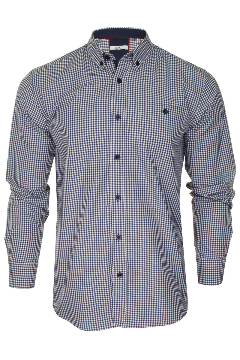 Xact Men's Gingham Check Shirt with Button-Down Collar - Long Sleeved, 01, Xsh1106, #colour_Navy/ White