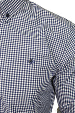 Xact Men's Gingham Check Shirt with Button-Down Collar - Long Sleeved, 02, Xsh1106, #colour_Navy/ White