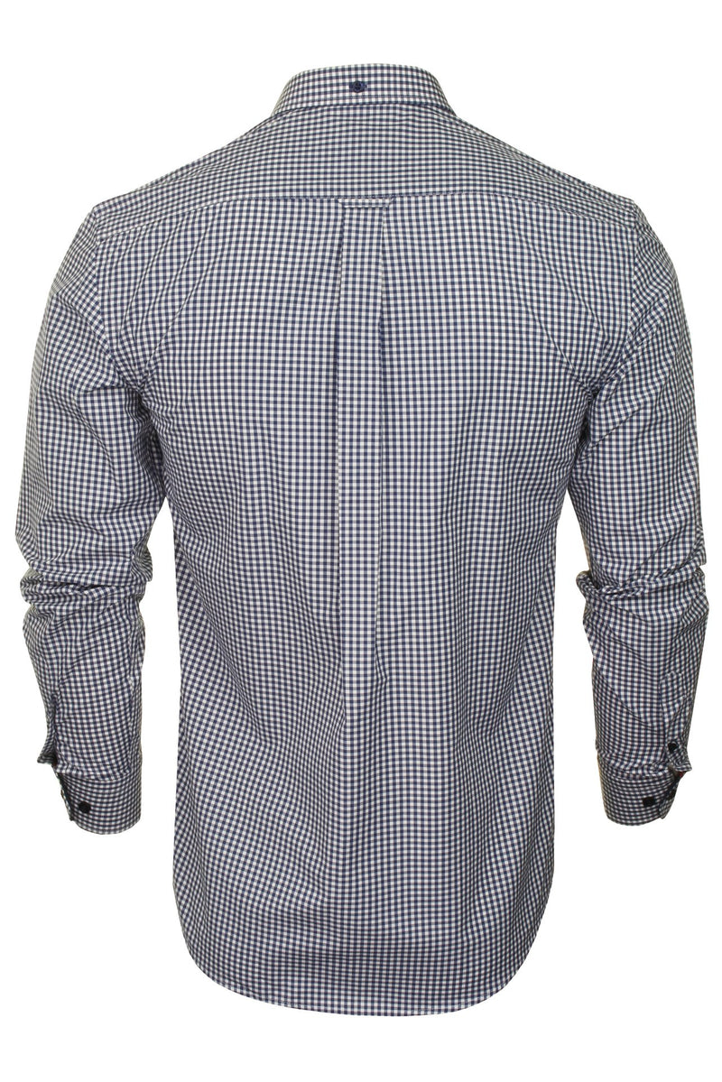 Xact Men's Gingham Check Shirt with Button-Down Collar - Long Sleeved, 03, Xsh1106, #colour_Navy/ White