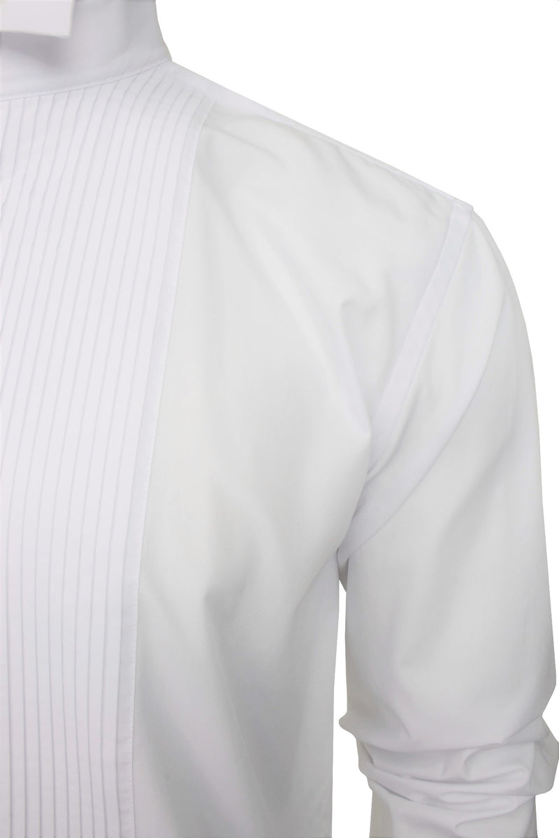 Xact Men's Formal Tuxedo/ Dress Shirt with Double Cuff and Cuff Links, 03, Xsh1110, #colour_White - Wing Collar - Pleated Fly Front