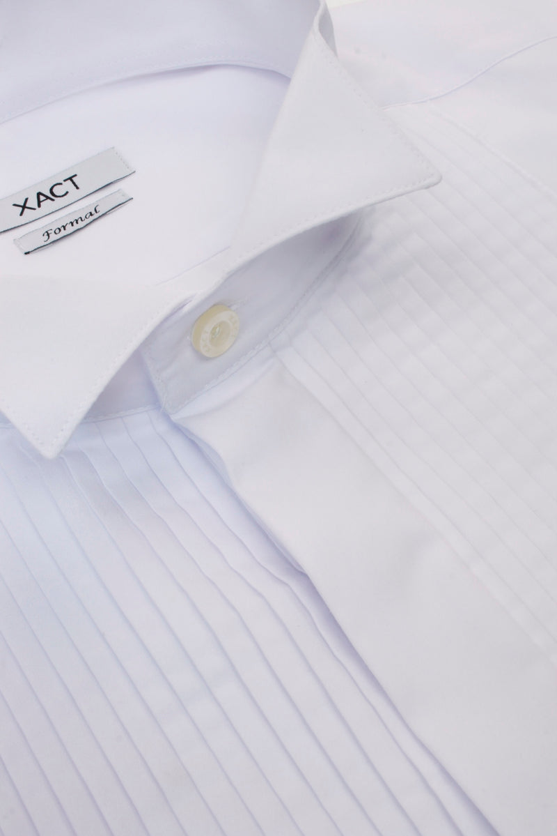 Xact Men's Formal Tuxedo/ Dress Shirt with Double Cuff and Cuff Links, 05, Xsh1110, #colour_White - Wing Collar - Pleated Fly Front