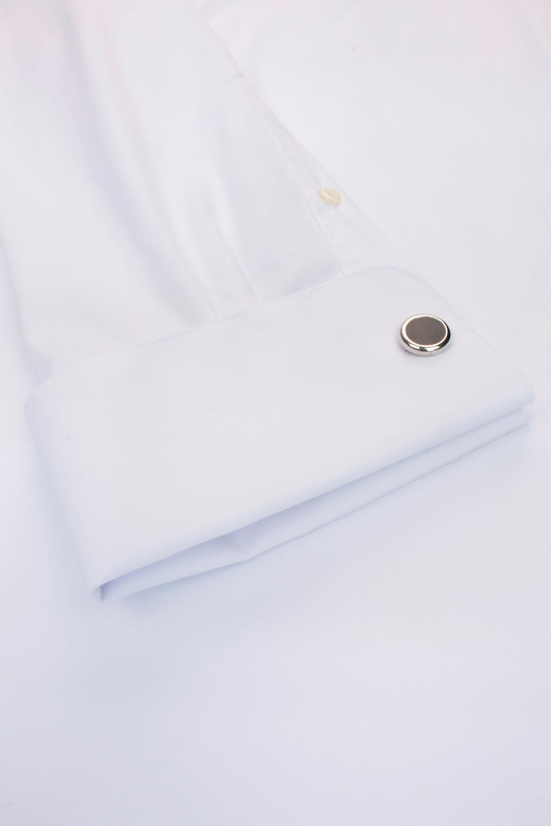 Xact Men's Formal Tuxedo/ Dress Shirt with Double Cuff and Cuff Links, 06, Xsh1110, #colour_White - Wing Collar - Pleated Fly Front