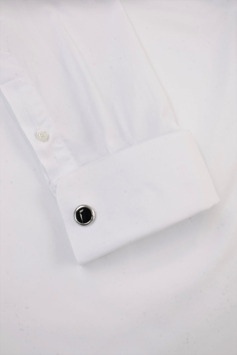 Xact Men's Formal Tuxedo/ Dress Shirt with Double Cuff and Cuff Links, 03, Xsh1110, #colour_White - Wing Collar - Black Buttons