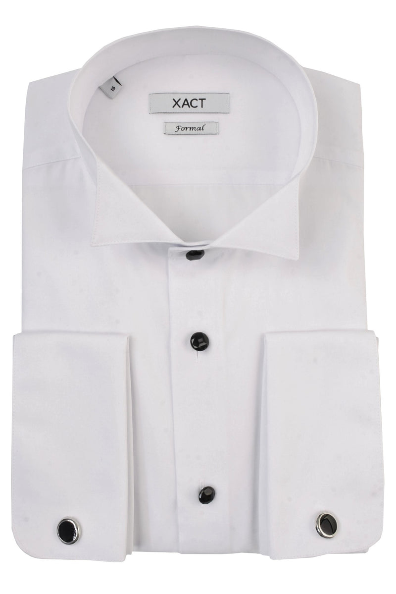 Xact Men's Formal Tuxedo/ Dress Shirt with Double Cuff and Cuff Links, 01, Xsh1110, #colour_White - Wing Collar - Black Buttons