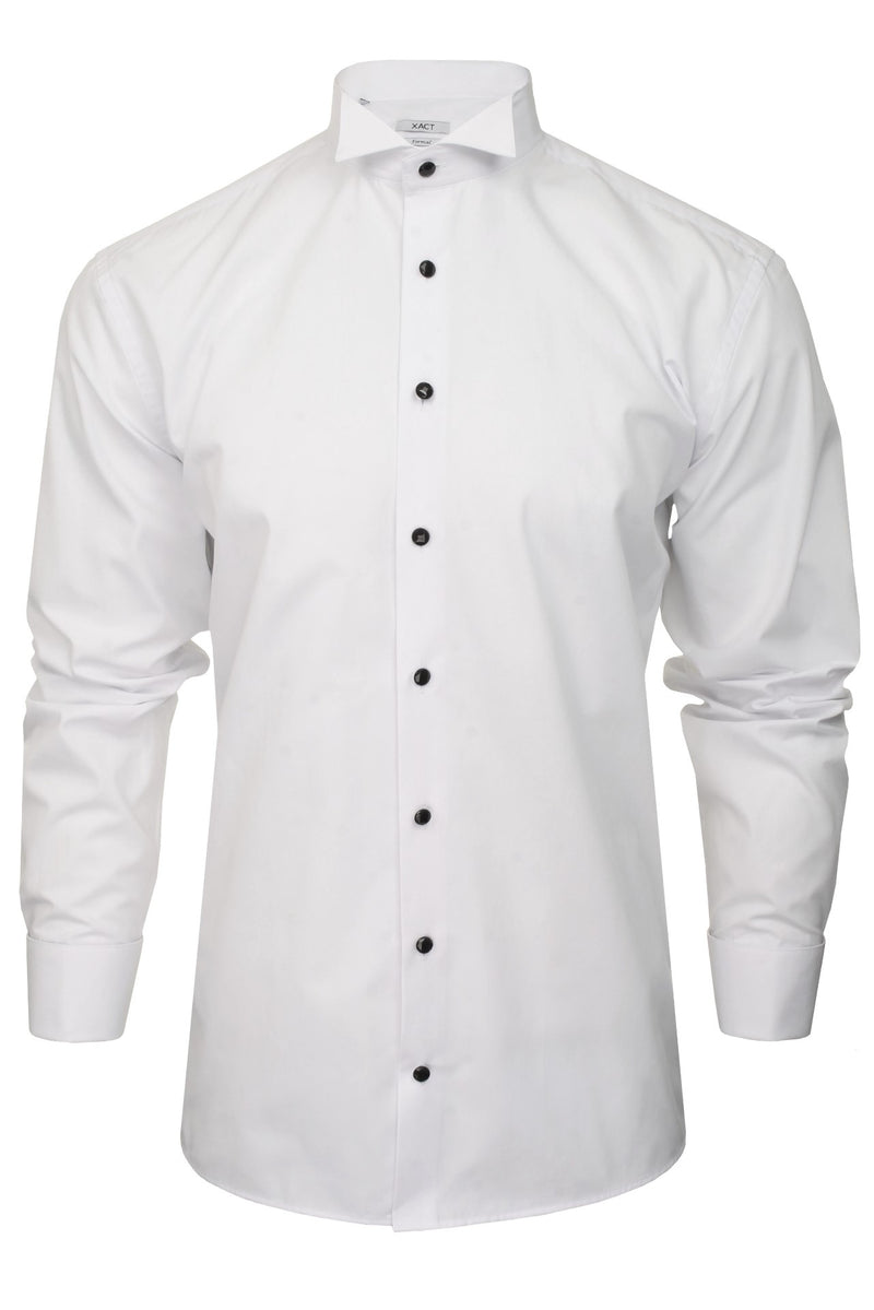 Xact Men's Formal Tuxedo/ Dress Shirt with Double Cuff and Cuff Links, 04, Xsh1110, #colour_White - Wing Collar - Black Buttons